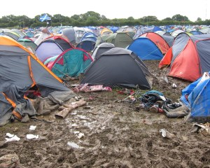 Muddy tents at The Isle of Wight Festival 2012