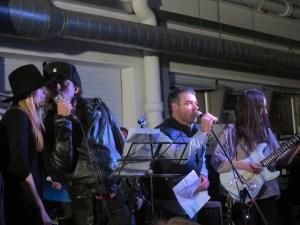 L-R: Liela Moss of Duke Spirit, Carl Barat Steve Mason of The Beta Band, Emily Lansley of Stealing Sheep