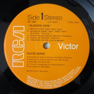 Aladdin Sane Orange label with places where the songs were written