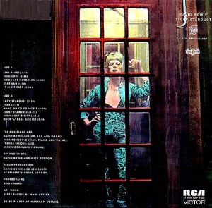 Bowie Rear Ziggy cover with Mainman credit post Dec 1972