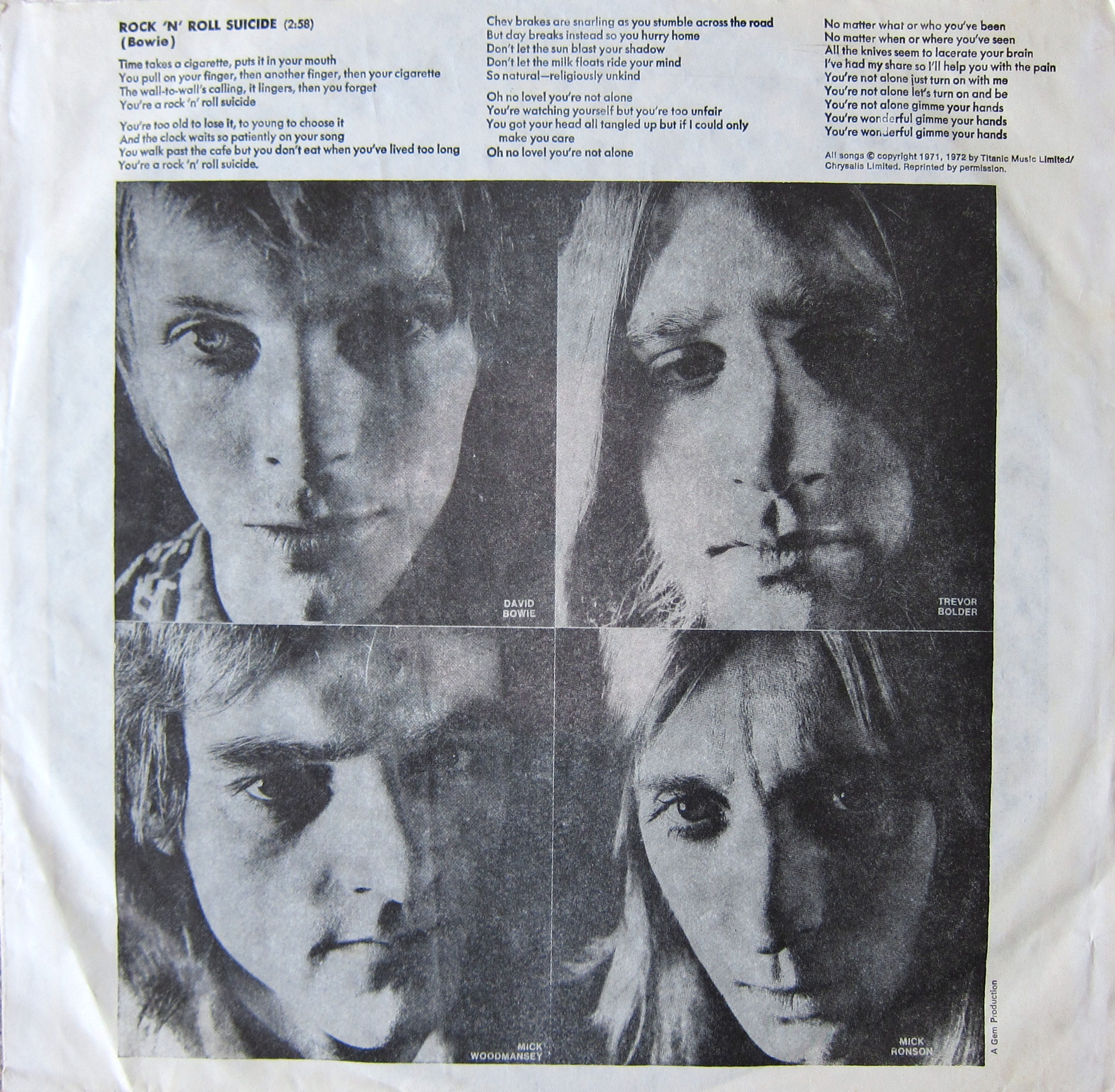 Bowie Ziggy Stardust record inner sleeve – Every record tells a story
