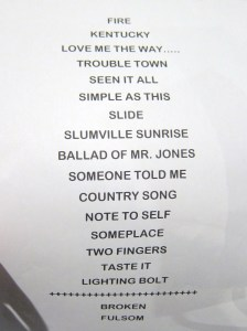 Last night's Set List