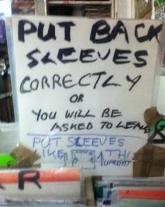 Put Back Sleeves Correctly sign