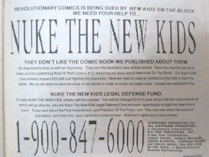 Nuke The New Kids legal defence fund rock n roll comics