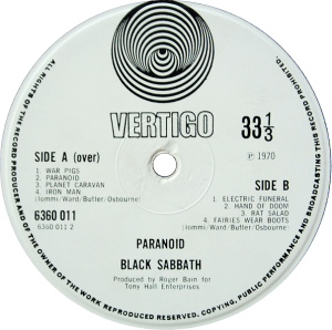 Black Sabbath Paranoid - small swirl Vertigo