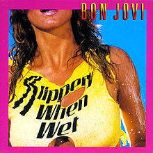 The original album art for Bon Jovi's Slippery When Wet. Not sexy, sexist...