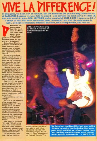 The Jake E Lee article in Kerrang!
