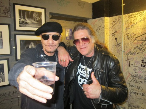 Michael Katon and drummer Johnny Bee relax backstage at The 100 Club