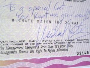 Michael Katon Marquee ticket stub