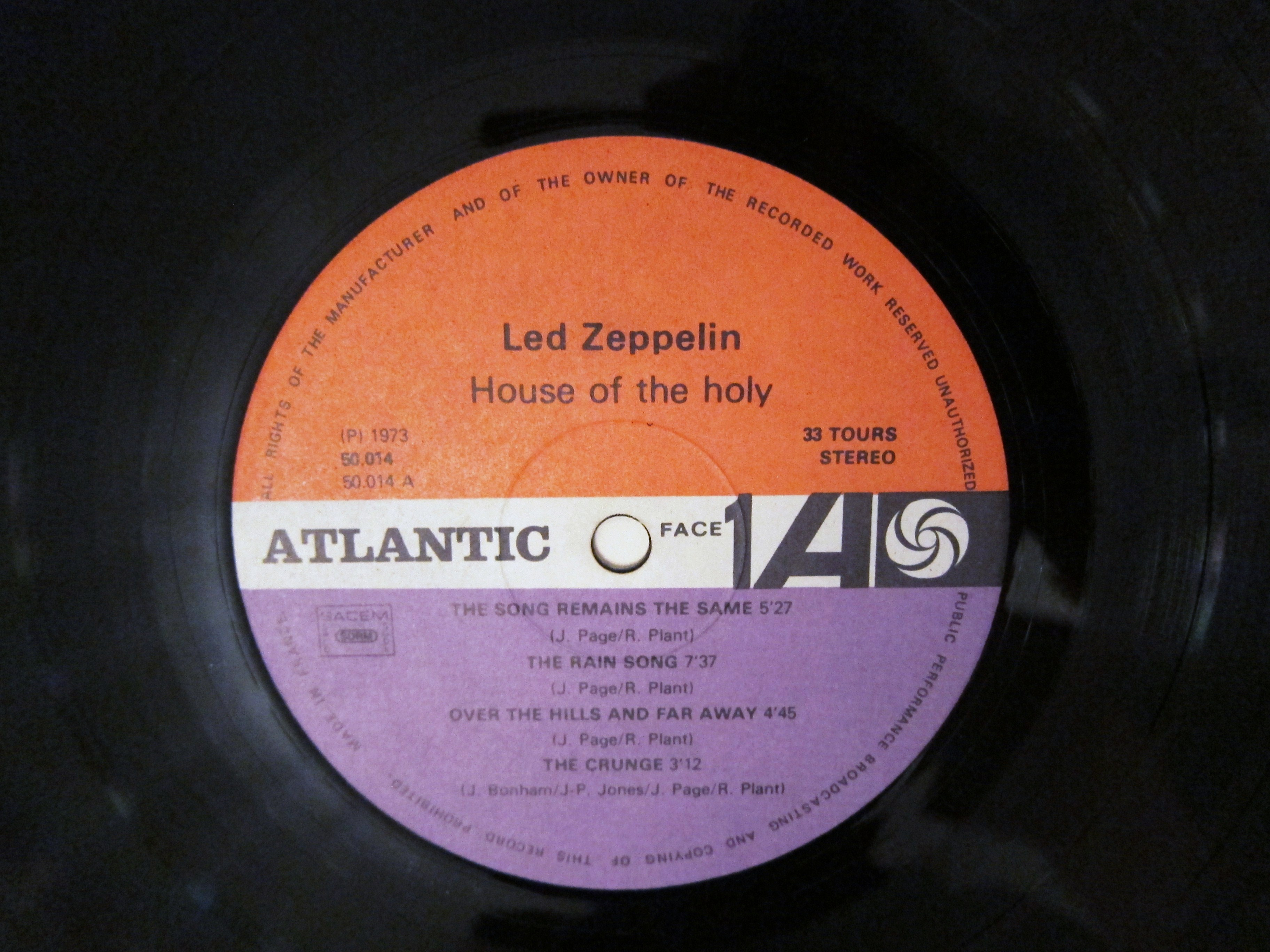 Led Zeppelin Houses Of The Holy French Pressing Every