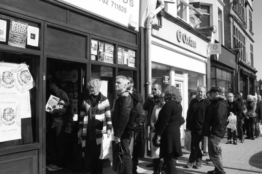 Crowds form outside Fives Records, Leigh on Sea