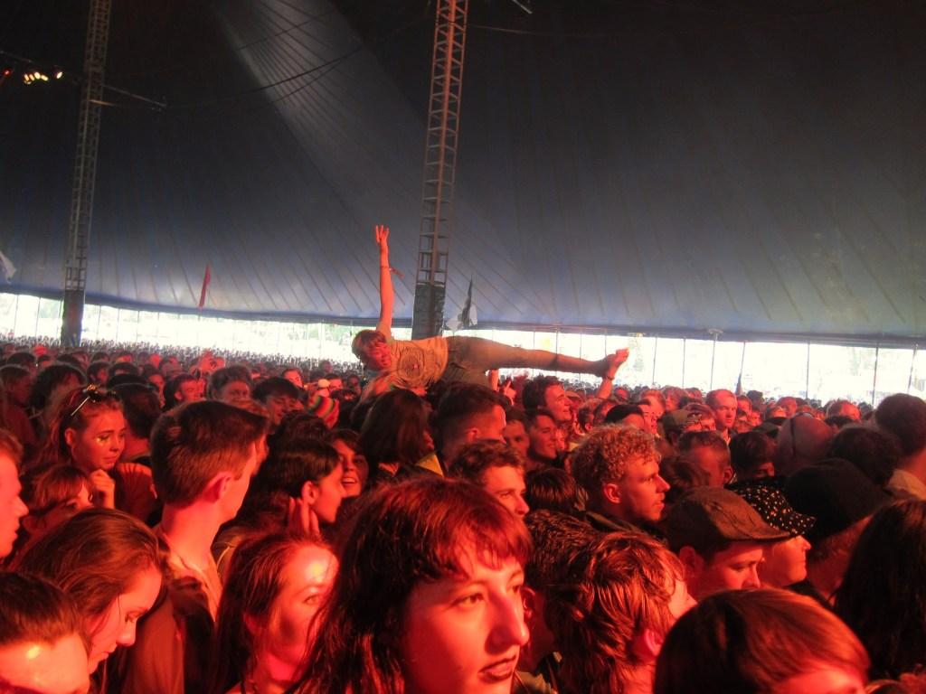 Crowd surfer at the John Peel Tent Glastonbury
