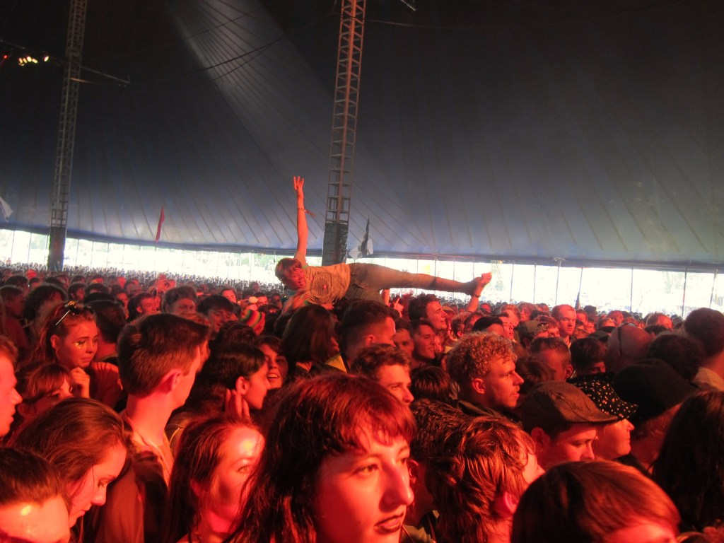 Crowd surfer at the John Peel Tent Glastonbury