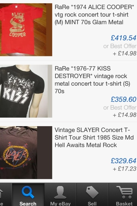 ebay auction t shirts metal vintage