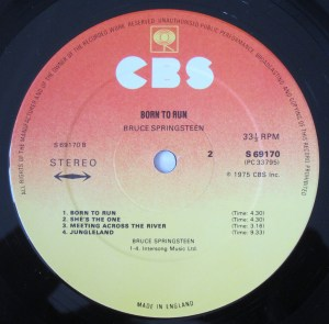 Bruce Springsteen Born To Run CBS label