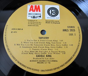 Carole King Tapestry A&M Record label