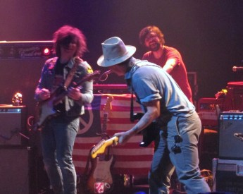 Johny Depp joins Ryan Adams and Daniel Clarke on stage at Shepherds Bush Empire Last night
