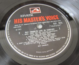 Ray Charles Live in Concert His Masters Voice HMV label