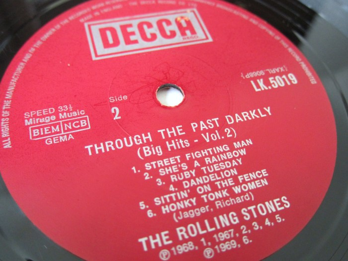 Red Decca boxed Rolling Stones label Through the past darkly