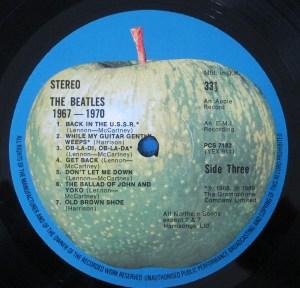 The Beatles Apple label Blue Album
