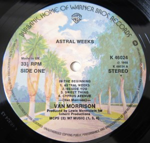 Van Morrison Astral Weeks Warner Brothers label K46024 1968
