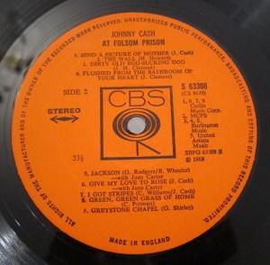 CBS Label Johnny Cash Folsom Prison