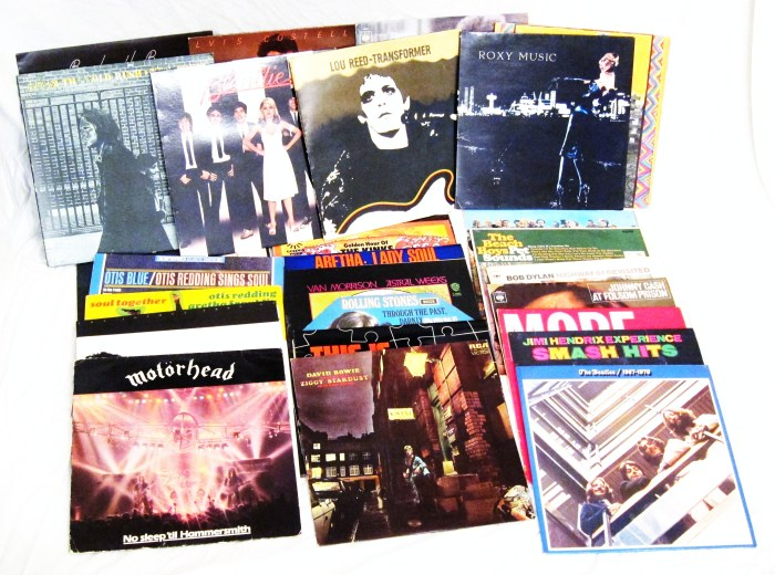 Record Collection including David Bowie Beatles and Motorhead