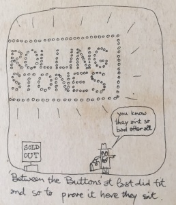 Charlie Watt's cartoon art on the reverse of the cover of Between The Buttons