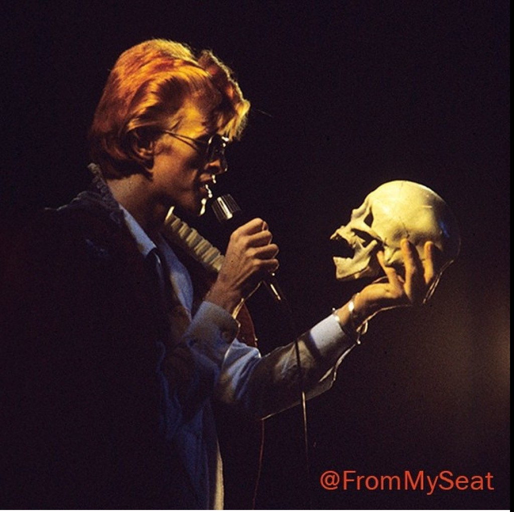David Bowie with skull 1974 diamond dogs